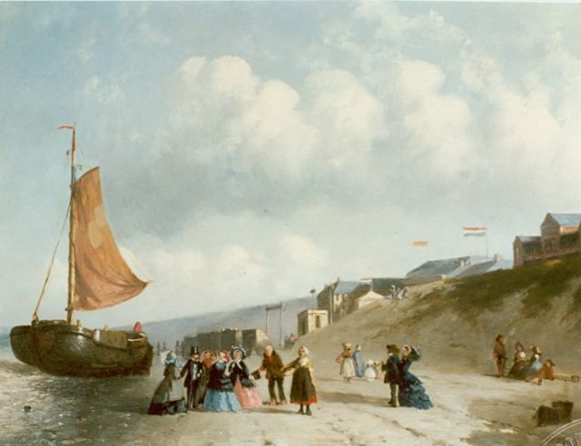 Joseph Bles | Fishing boats and fishermen on the beach of Schevingen, oil on panel, 14.2 x 17.6 cm, signed l.r.