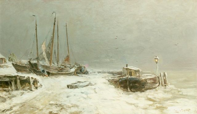 Louis Apol | Winter landscape with snow-covered boats, oil on canvas, 59.5 x 100.0 cm, signed l.r.