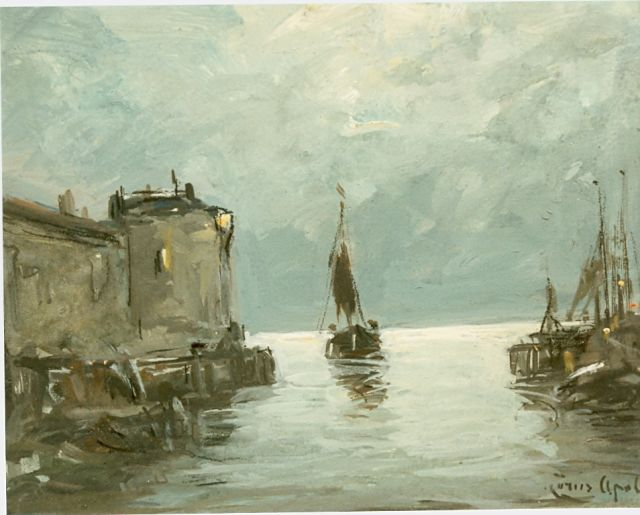 Louis Apol | The harbour of Veere, gouache on board, 11.0 x 14.0 cm, signed l.r.