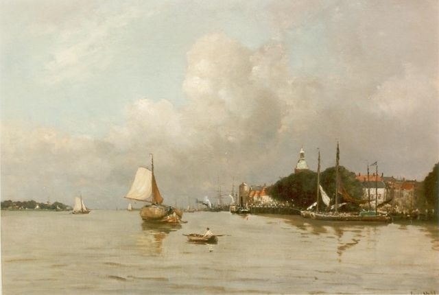 Louis Apol | Harbour of Dordrecht, oil on canvas, 55.5 x 80.5 cm, signed l.r.