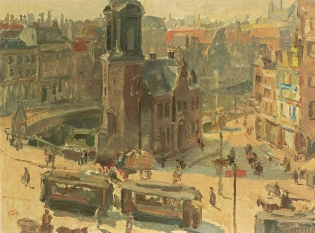 Israels I.L.  | A view of the Muntplein, Amsterdam, oil on canvas, 73.0 x 101.5 cm, signed l.o. and around 1918