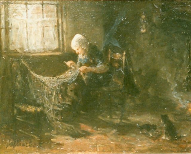 Jozef Israëls | Mending nets, oil on panel, 32.9 x 44.2 cm, signed l.l.
