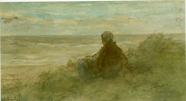 Jozef Israëls | A girl in the dunes, watercolour on paper, 17.0 x 31.0 cm, signed l.l.