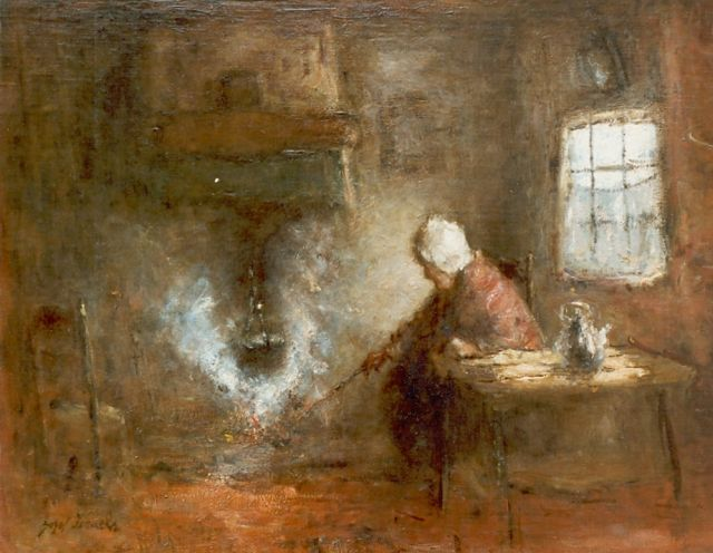 Jozef Israëls | Preparing dinner, oil on canvas, 43.0 x 53.0 cm, signed l.l.