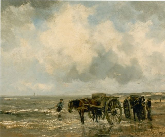 Willem George Frederik Jansen | Shell gatherers on the beach, oil on canvas, 73.5 x 93.1 cm, signed l.r.