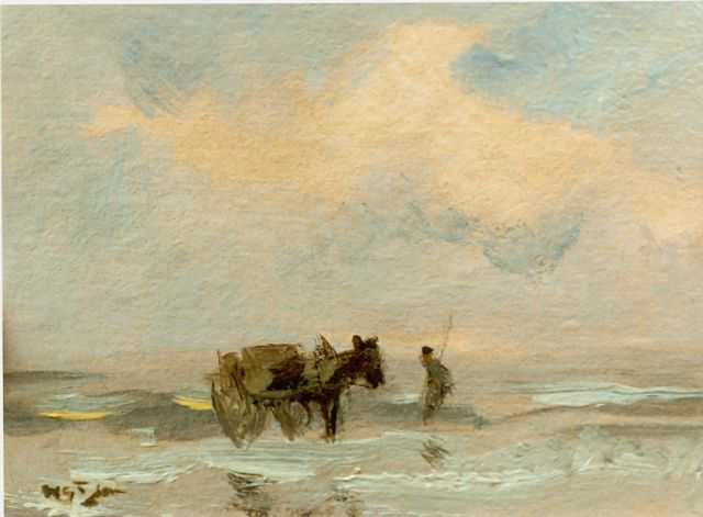 Willem George Frederik Jansen | Shell gatherer in the breakers, oil on cardboard, 91.0 x 120.0 cm, signed l.l.