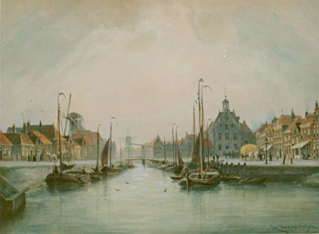Cornelis Christiaan Dommelshuizen | A harbour view, watercolour on paper, 28.0 x 39.0 cm, signed l.r. and dated 1905