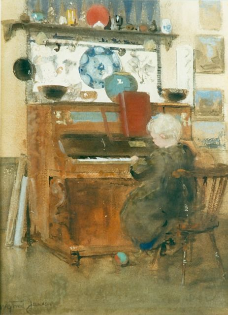 Willem George Frederik Jansen | Girl playing the piano, watercolour and gouache on paper, 34.0 x 25.0 cm, signed l.l.