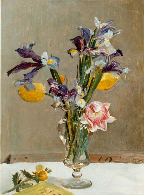 Harm Kamerlingh Onnes | A flower still life, oil on panel, 45.5 x 34.2 cm, signed monogram l.r. and dated '32