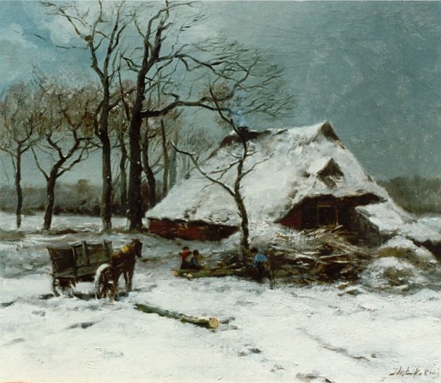 Johannes Marius ten Kate | Gathering wood in winter, oil on canvas, 40.3 x 47.3 cm, signed l.r.