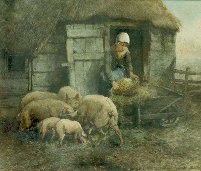 Johannes Marius ten Kate | Farmer's daughter at work, watercolour on paper, 31.6 x 38.9 cm, signed l.r.