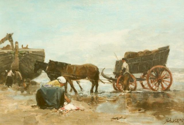 Johannes Marius ten Kate | Unloading the catch, oil on panel, 18.1 x 26.7 cm, signed l.r.