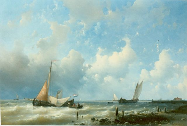 Abraham Hulk | Sailing boats near the Dutch coast, oil on canvas, 62.0 x 91.0 cm, signed l.r.