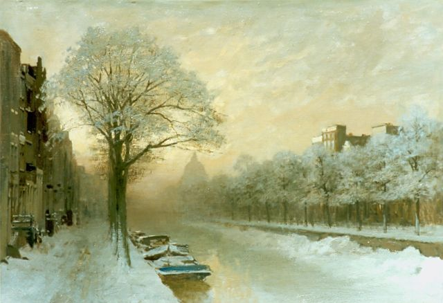 Karel Klinkenberg | A view of the Singel in winter, Amsterdam, oil on canvas, 51.0 x 70.0 cm, signed l.r.