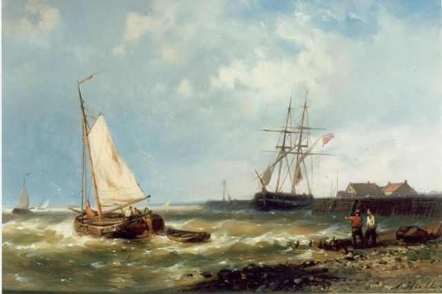 Abraham Hulk | Sailing boats near the Dutch coast, oil on panel, 17.5 x 25.5 cm, signed l.r.