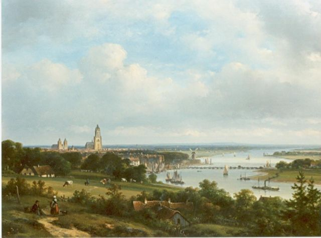Lodewijk Johannes Kleijn | View of Arnhem with the river Rhine in the distance, oil on panel, 34.7 x 47.0 cm, signed l.l.