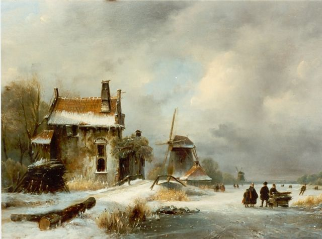 Lodewijk Johannes Kleijn | A winter landscape with figures on the ice, oil on panel, 31.5 x 43.5 cm, signed l.r.