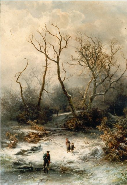 Pieter Kluyver | Children playing in a snow-covered landscape, oil on panel, 49.6 x 39.7 cm, signed l.r.