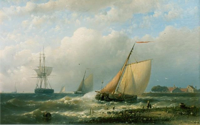 Abraham Hulk | A fishing vessel in a stiff breeze, oil on canvas, 60.5 x 89.5 cm, signed l.r.