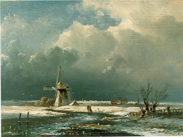 Pieter Kluyver | A winter landscape, oil on panel, 12.4 x 16.6 cm, signed l.r.