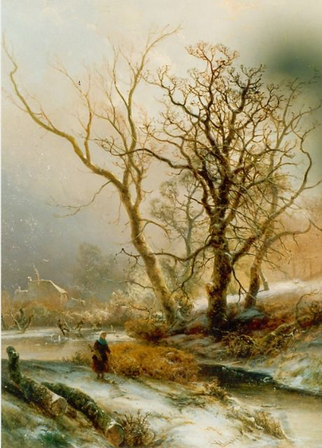 Pieter Kluyver | A woman on a path in winter, oil on panel, 50.0 x 39.5 cm, signed l.c.