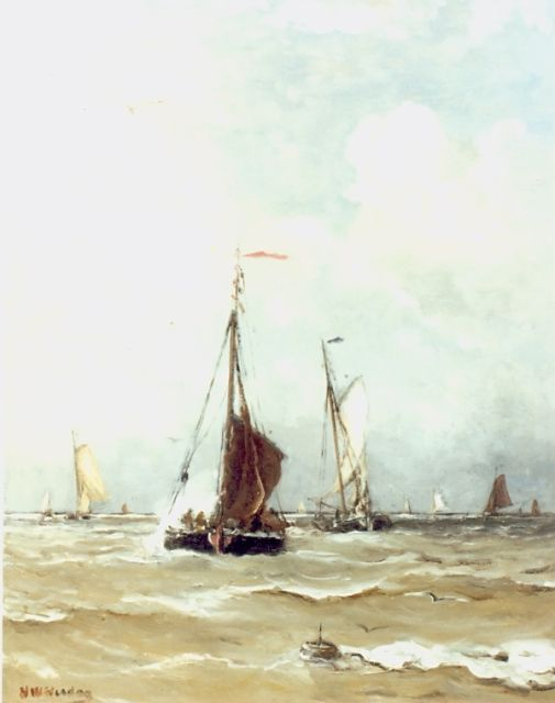 Hendrik Willem Mesdag | Fishing boats at sea, oil on canvas, 50.0 x 40.0 cm, signed l.l.