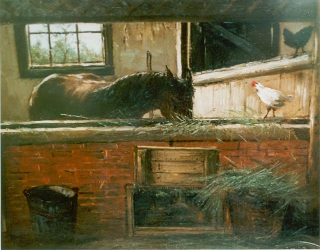 Hendrik Willem Mesdag | Horse-stable, oil on canvas laid down on panel, 28.2 x 36.0 cm, signed monogram l.l.
