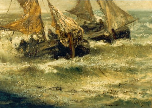 Hendrik Willem Mesdag | Fishing boats in full sail, oil on canvas, 43.0 x 59.0 cm, signed l.r.