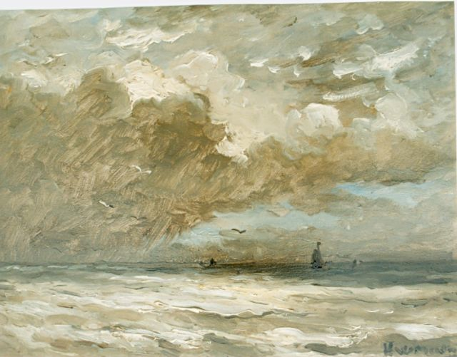 Hendrik Willem Mesdag | Sailing boats in a calm, oil on panel, 24.7 x 32.0 cm, signed l.r.