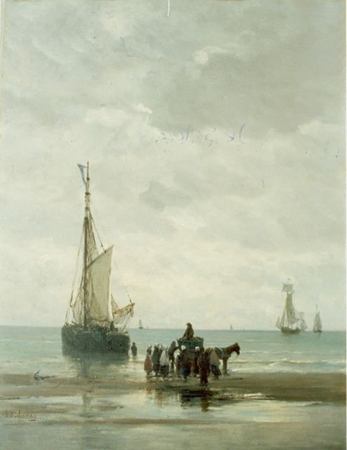 Hendrik Willem Mesdag | Anchored boat, oil on panel, 53.5 x 40.6 cm, signed l.l.