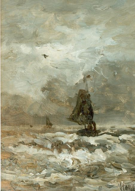 Hendrik Willem Mesdag | Shipping at sea, oil on panel, 23.6 x 18.0 cm, signed l.r.