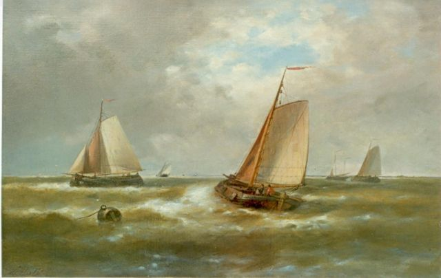 Abraham Hulk | Sailing boats leaving  harbour, oil on canvas, 39.0 x 59.5 cm, signed l.l.