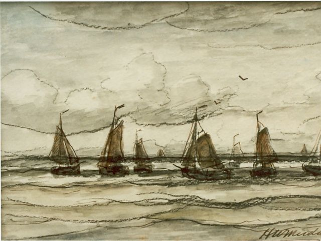 Hendrik Willem Mesdag | Sailing boats in full sail, watercolour on paper, 13.6 x 19.6 cm, signed l.r.