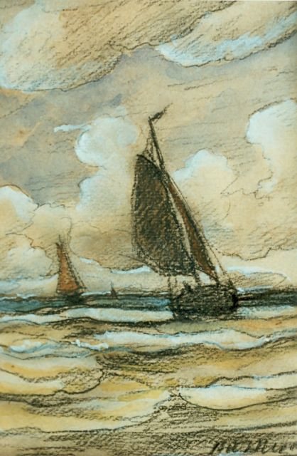 Hendrik Willem Mesdag | Boats at sea, mixed media on paper, 15.5 x 20.0 cm, signed l.r.