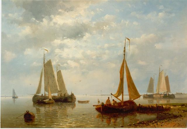 Abraham Hulk | Sailing boats in an estuary, oil on panel, 17.3 x 25.4 cm, signed l.r.