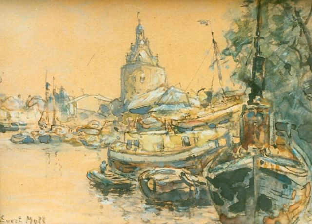 Evert Moll | A view of the harbour of Enkhuizen, watercolour on paper, 11.5 x 17.0 cm, signed l.l.