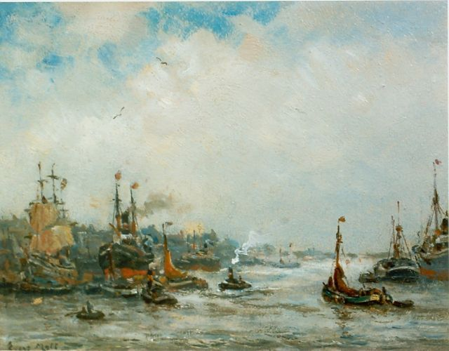 Evert Moll | The harbour of Rotterdam, oil on board, 19.5 x 25.1 cm, signed l.l.