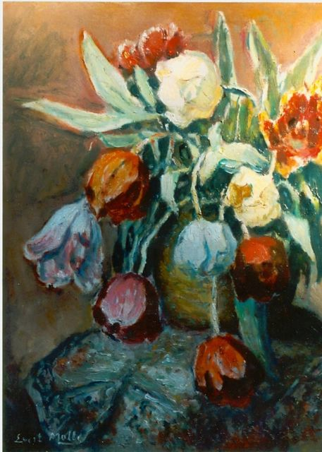 Evert Moll | Tulips in a vase, oil on canvas, 59.0 x 49.0 cm, signed l.l.