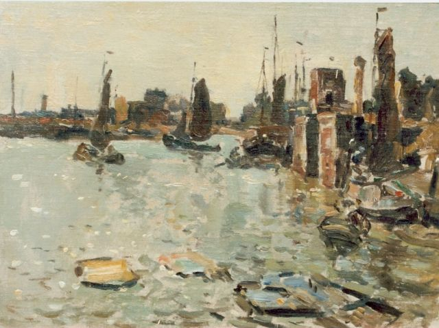 Evert Moll | Harbour view, oil on canvas laid down on panel, 32.5 x 44.0 cm