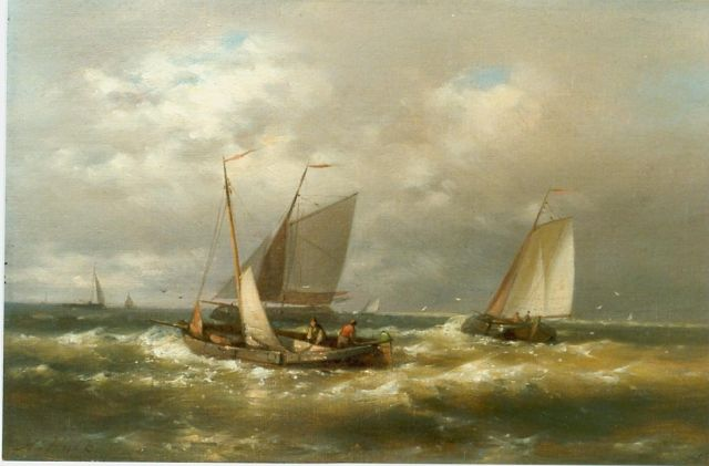 Abraham Hulk | Sailing boats in choppy waters, oil on canvas, 20.2 x 30.6 cm, signed l.l.
