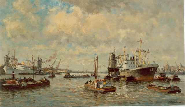 Joop Molenaar | Moored boats in the harbour of Rotterdam, oil on canvas, 29.5 x 50.6 cm, signed l.r.
