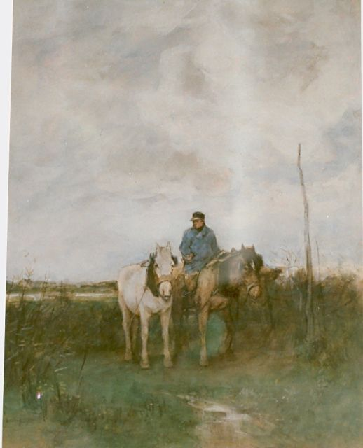 Anton Mauve | A farmer with horses, watercolour on paper, 35.0 x 28.0 cm