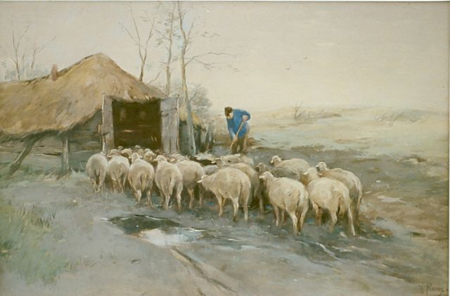 Anton Mauve | Sheepfold returning, watercolour on paper, 38.0 x 56.0 cm, signed l.r.