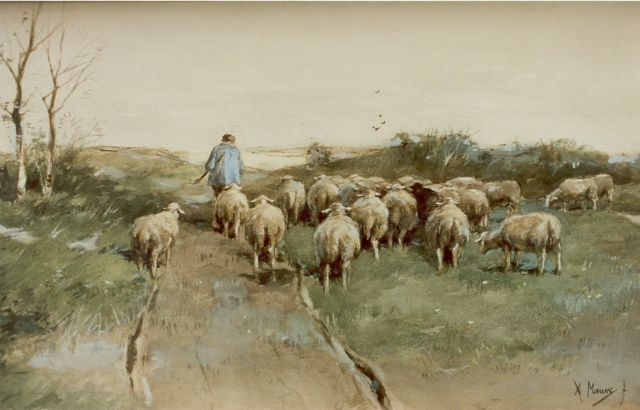 Anton Mauve | A shepherd and his flock, watercolour on paper, 31.5 x 52.0 cm, signed l.r.