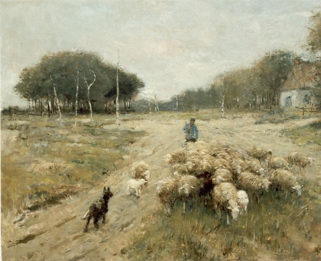 Anton Mauve | A shepherd and his flock, oil on canvas, 60.5 x 80.2 cm, signed l.r.