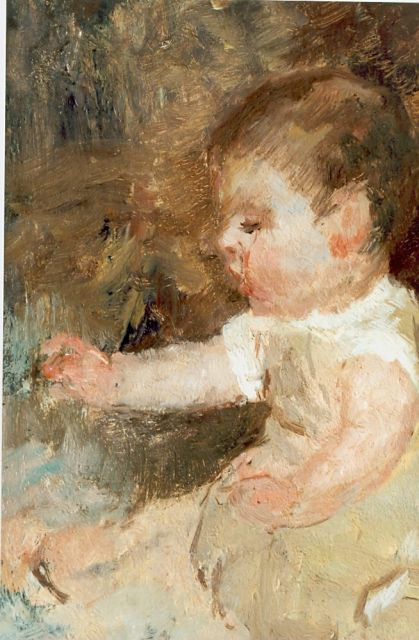 Jacob Maris | A baby, oil on panel, 25.0 x 17.7 cm, signed l.r.