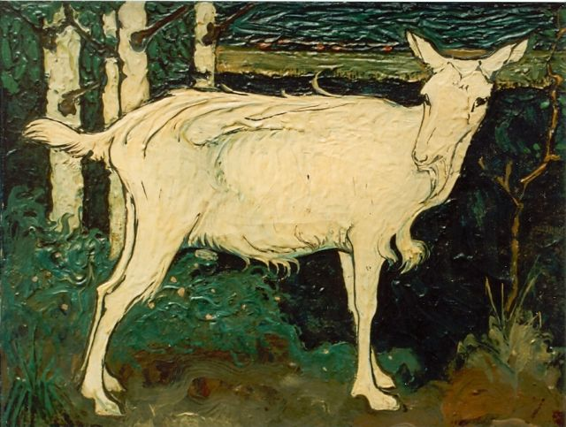 Jan Mankes | Goat, oil on canvas, 15.0 x 18.8 cm, signed l.r.