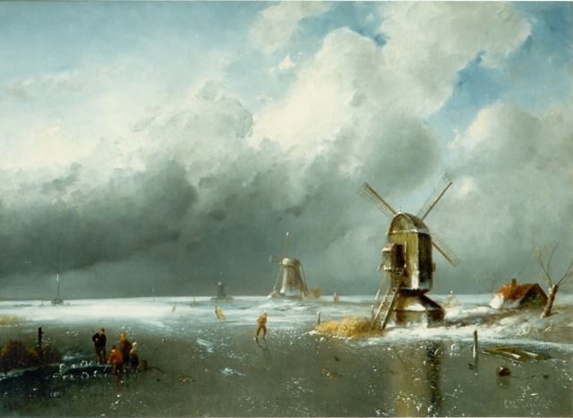 Charles Leickert | A winter landscape with skaters on the ice, oil on canvas, 42.3 x 58.1 cm, signed l.r.