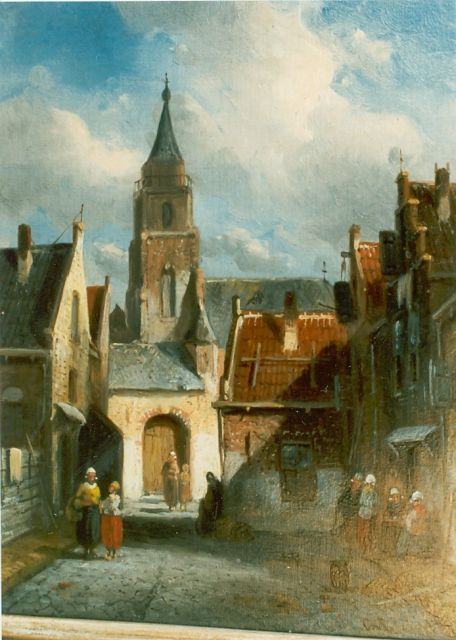 Charles Leickert | Townscape, oil on panel, 24.4 x 18.9 cm, signed l.r.