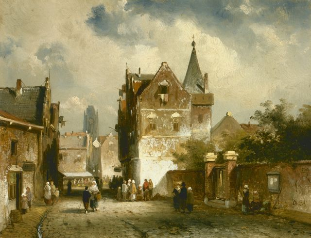 Charles Leickert | Figures in a sunlit town, oil on panel, 14.9 x 19.1 cm, signed l.r.